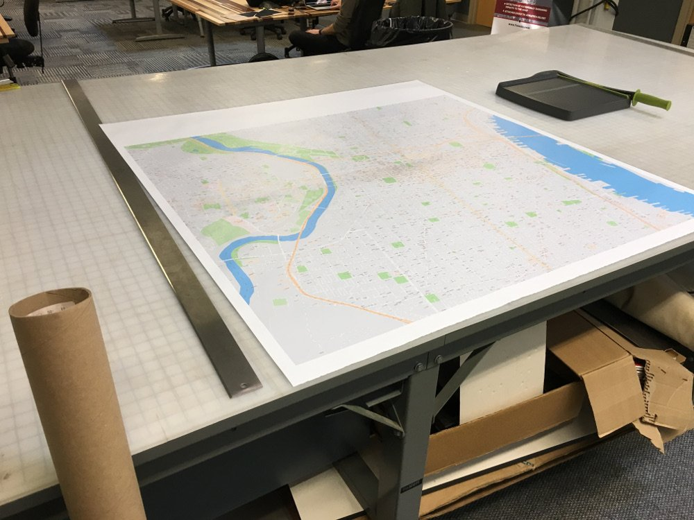Map on drafting table